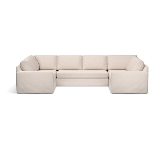 big sur square arm slipcovered u shaped sectional