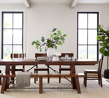 benchwright dining table pottery barn