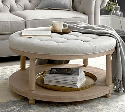 large round leather ottoman pottery barn