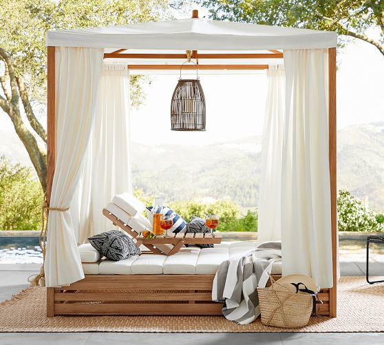 madera fsc teak daybed double chaise lounge with canopy