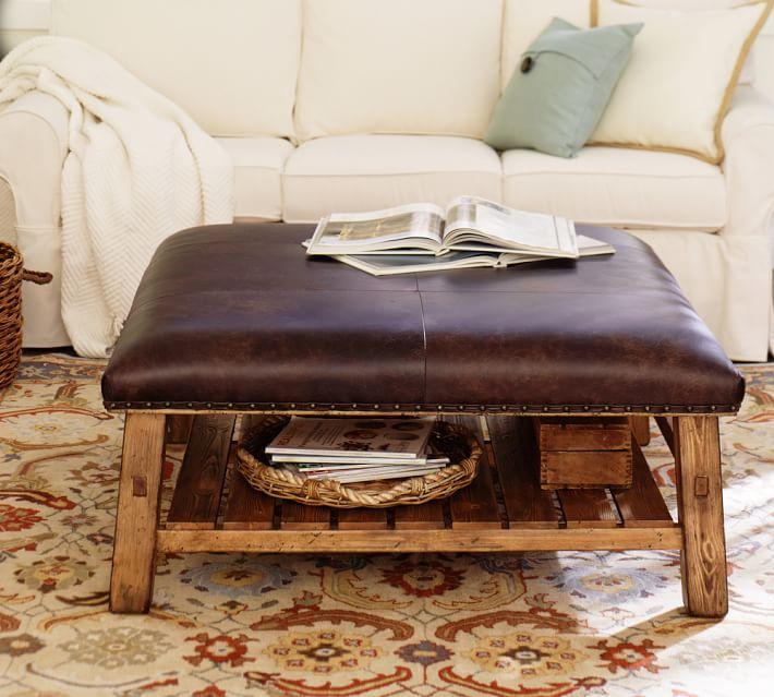 caden square leather ottoman