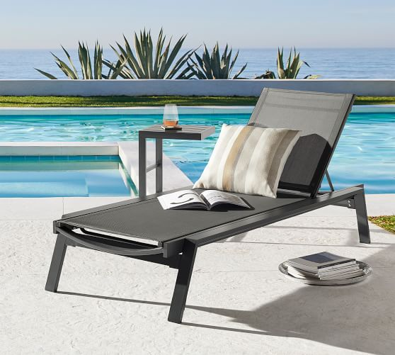 indio metal stackable chaise lounge set of 2 slate