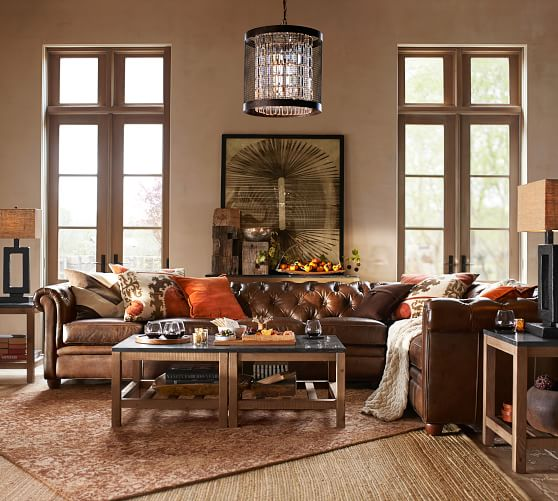 chesterfield roll arm leather 4 piece reversible grand sectional