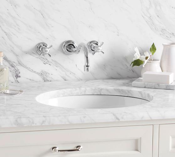 mercer cross handle wall mounted bathroom sink faucet