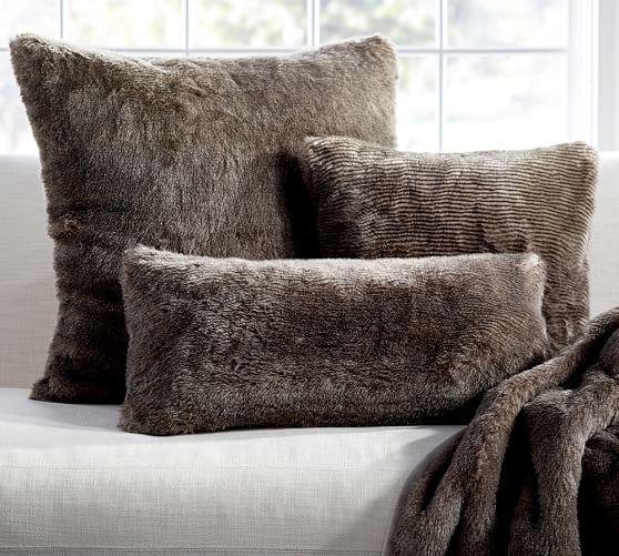faux fur chinchilla pillow covers