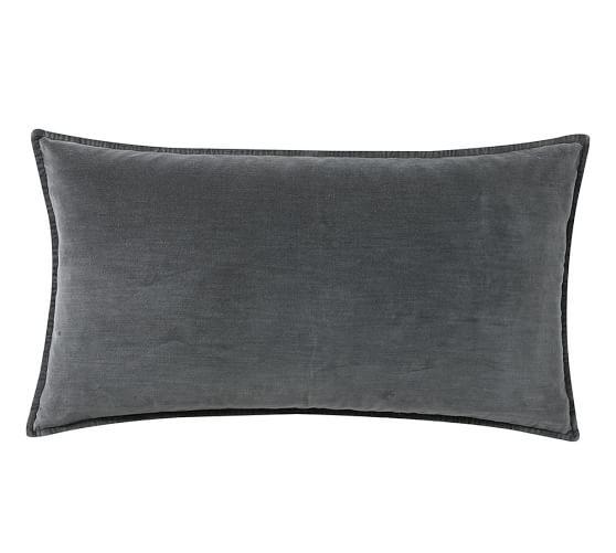 oversized washed velvet lumbar