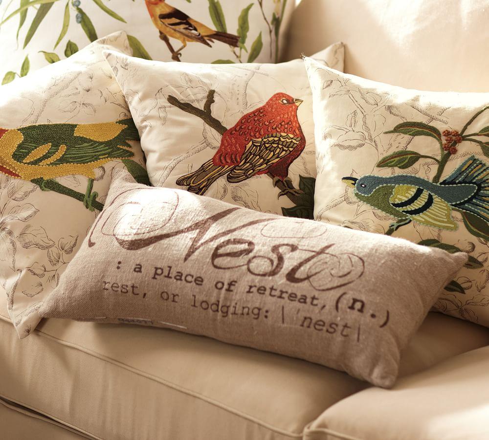 nest sentiment lumbar decorative pillow