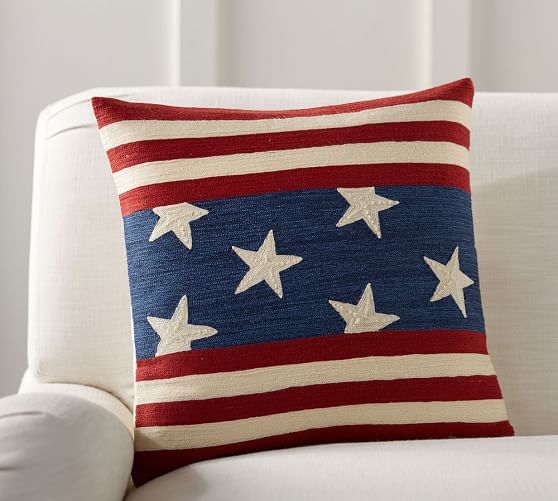 flag embroidered pillow cover