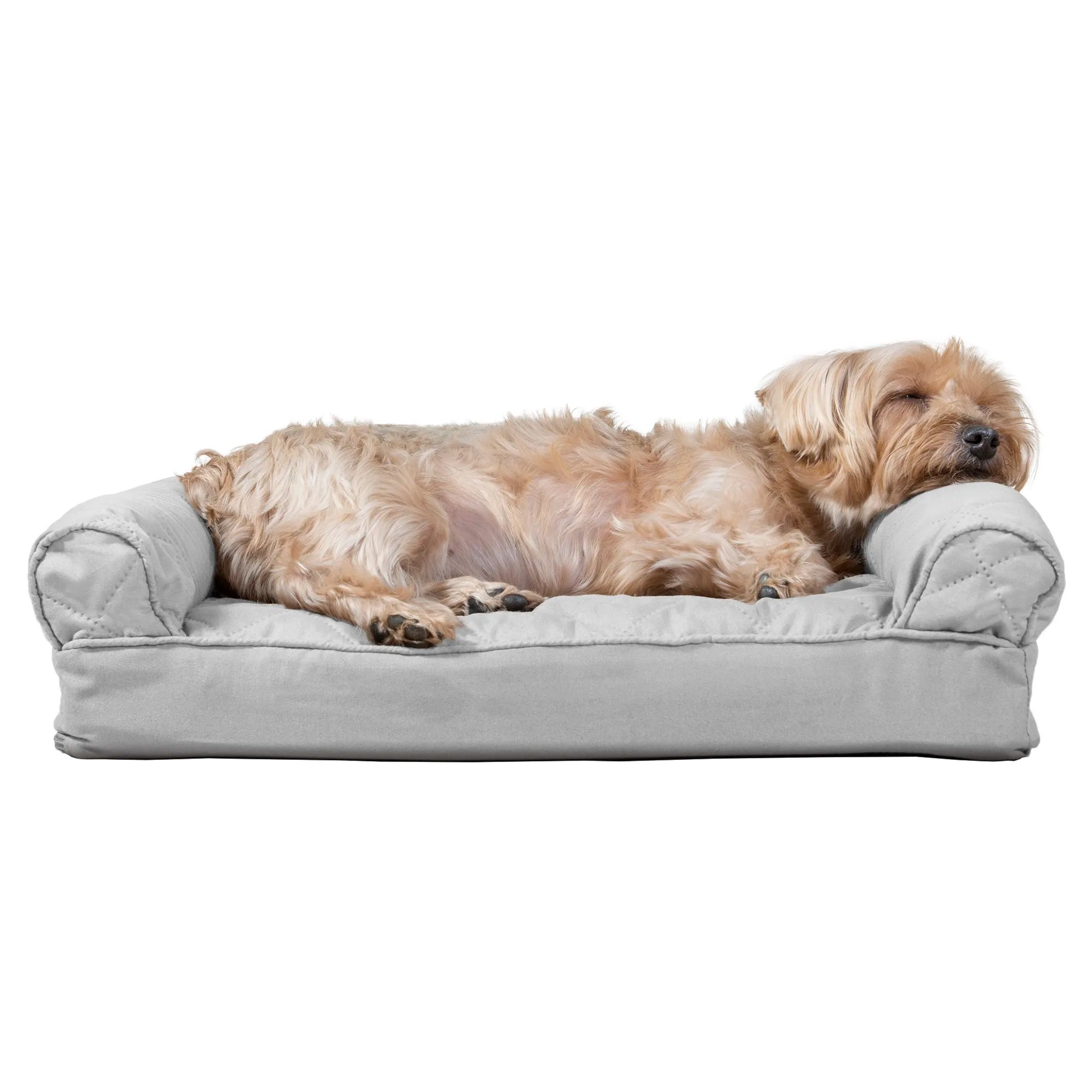 furhaven quilted pillow sofa dog bed silver gray 20 l x 15 w
