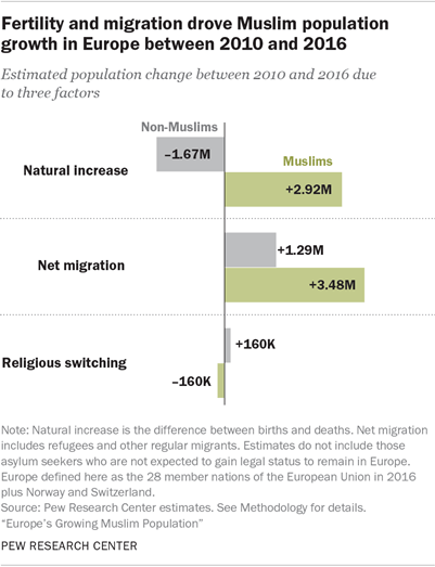 Fertility and migration drove Muslim population growth in Europe between 2010 and 2016