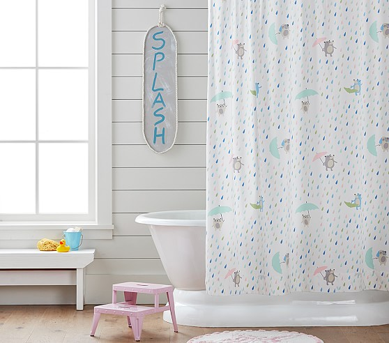 rainy day critters kids shower curtain