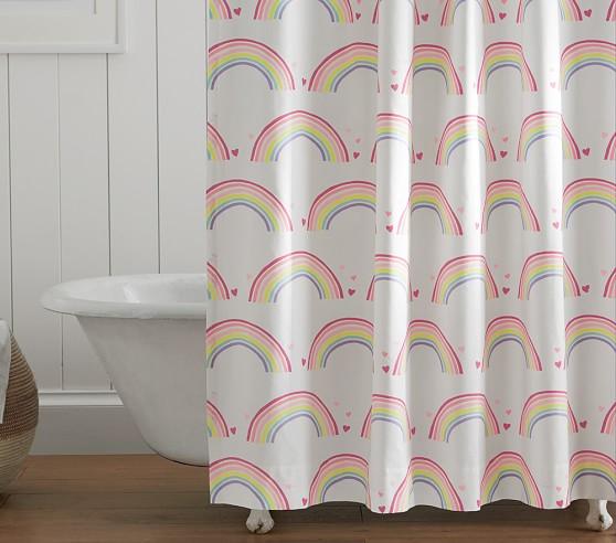 rainbow kids shower curtain pottery