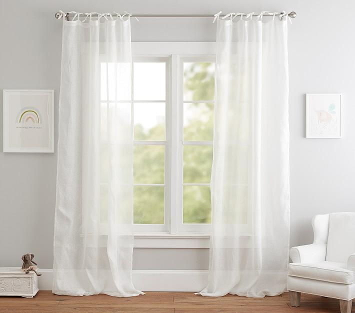 linen sheer curtain panel