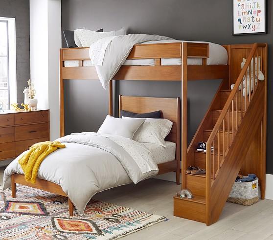 west elm x pbk mid century stair loft lower bed set