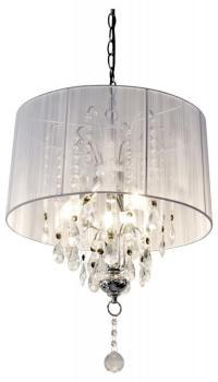 Shabby Chic Large White Thread Crystal Chandelier ...