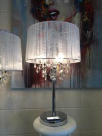 Large Shabby Chic White Thread Crystal Table Lamp ...