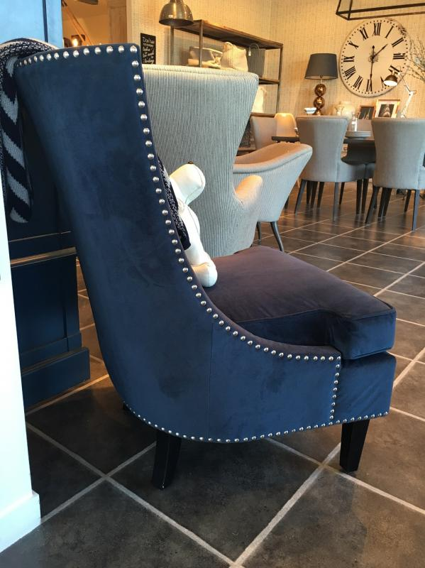 Blue Fabric Sofa Chair With Silver Studs Mulberry Moon