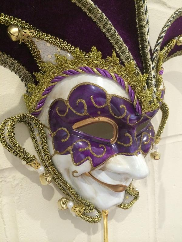 Purple  Gold Masquerade Mask Venetian Jester  Mulberry Moon