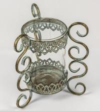 Small Verdigris Vintage Scrolled Glass Candle Holder ...