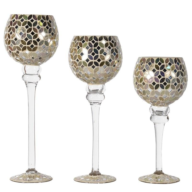 Contemporary Set of 3 Mosaic Candle Holders