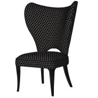 Contempoary Black & White Fabric Wing Chair | Mulberry Moon