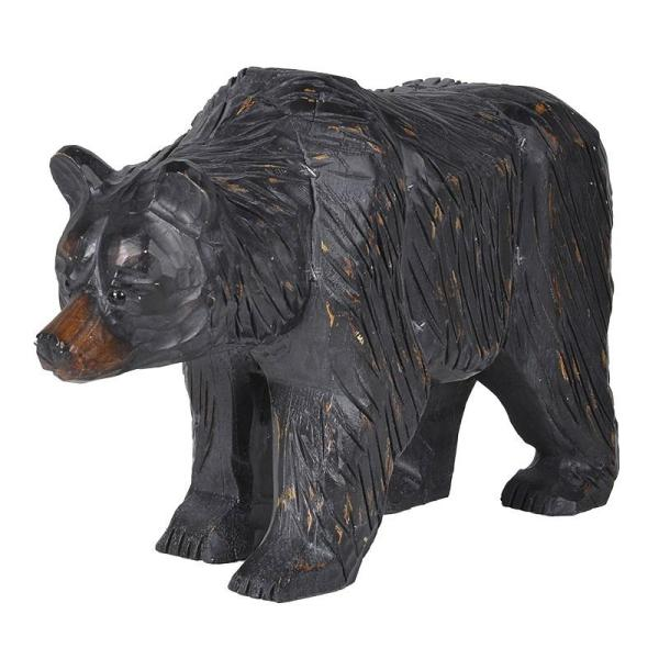 Carved Resin Black Bear Sculpture Mulberry Moon