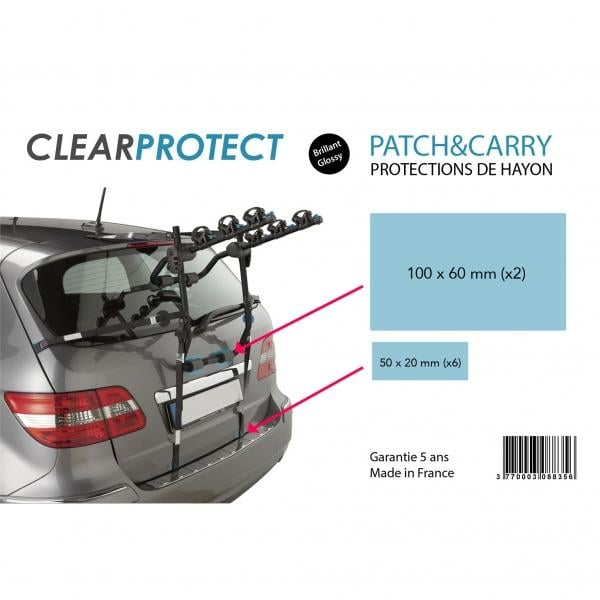protections de hayon clearprotect patch and carry pour porte velos