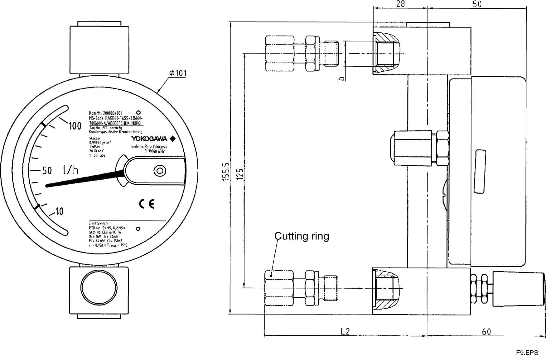 Yokogawa Rakd41 Variable Area Flowmeter Metal Tube Rotameter 1 4 Inch