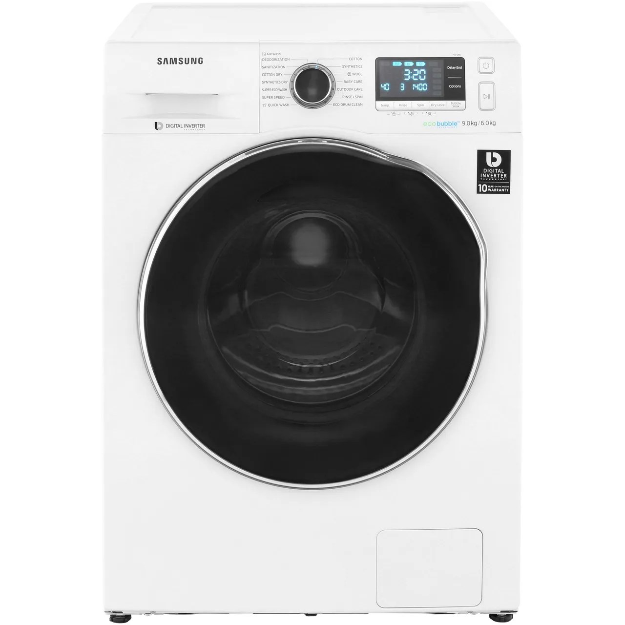 Samsung Wd90j6a10aw 9 6kg Ecobubble Washer Dryer Ao Com