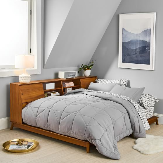 west elm x pbt mid century side storage platform bed