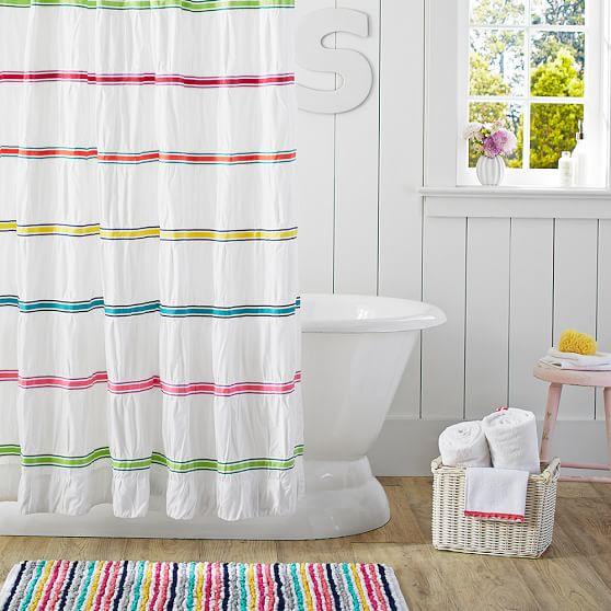rainbow ribbon teen shower curtain