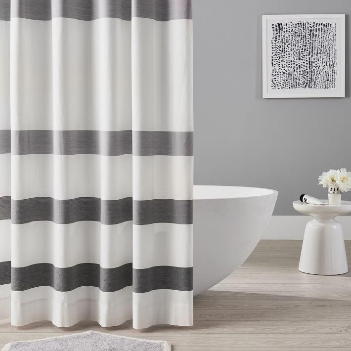 organic huntington stripe shower curtain