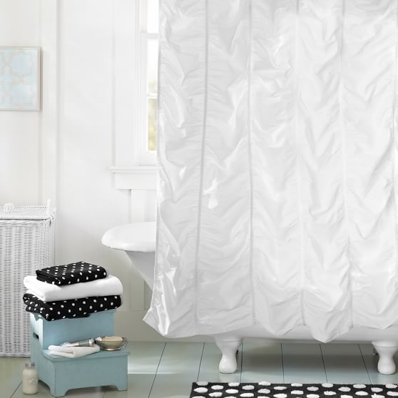 ruched teen shower curtain pottery