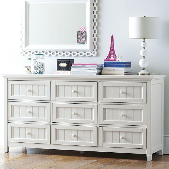 beadboard 9 drawer wide dresser