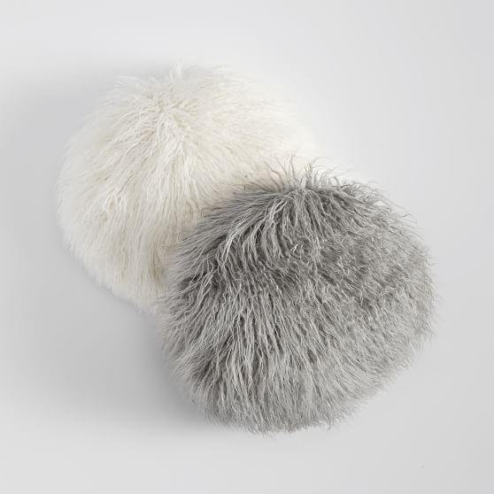 faux fur mongolian round dorm pillow