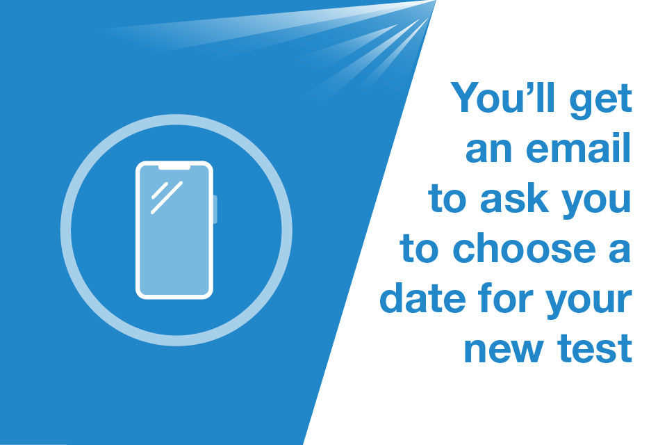 Graphic of a phone with a caption that says 'You'll get an email to ask you to choose a date for your new test'
