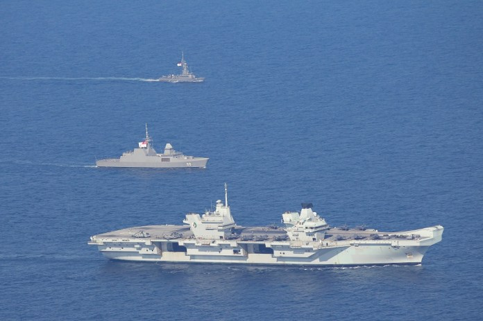 (from top) RSS Vigour, RSS Formidable and HMS Queen Elizabeth