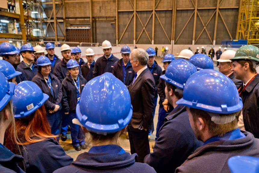 Defence Secretary Sir Michael Fallon with BAE Systems apprentices. Picture: Michael Vallance, BAE Systems.
