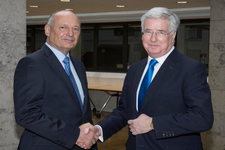 Defence Secretary Sir Michael Fallon with former Chairman of McLaren Ron Dennis at Oxford