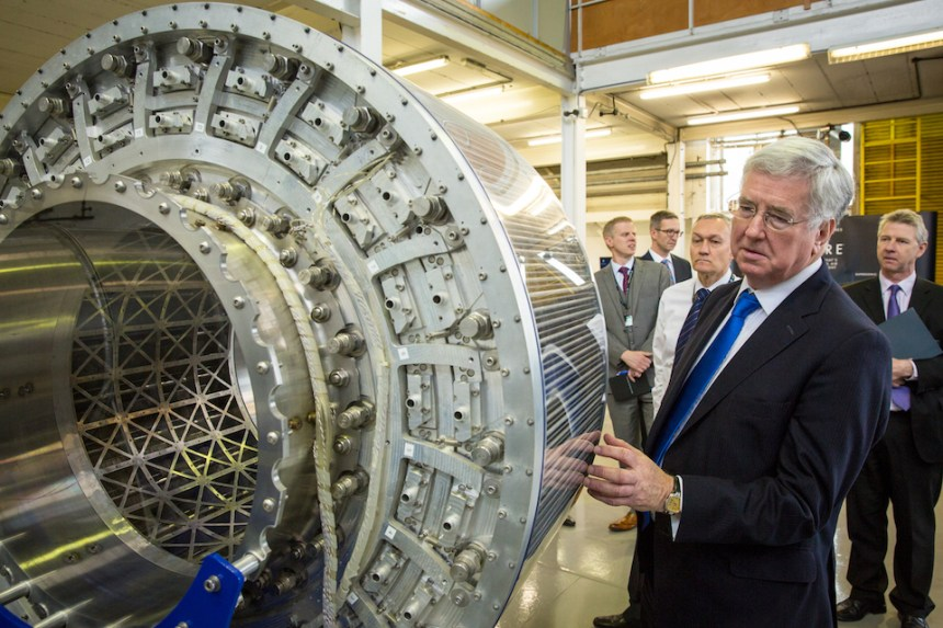 The Defence Secretary with a heat exchanger, a component part of the SABRE (Synergetic Air-Breathing Rocket Engine) at Reaction Engines in Culham Science Park in Oxfordshire