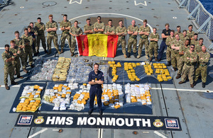 The UK and France commanded a multinational naval task force which has scored eight drugs busts worth £65m by the Royal Navy frigate, HMS Monmouth. Crown Copyright