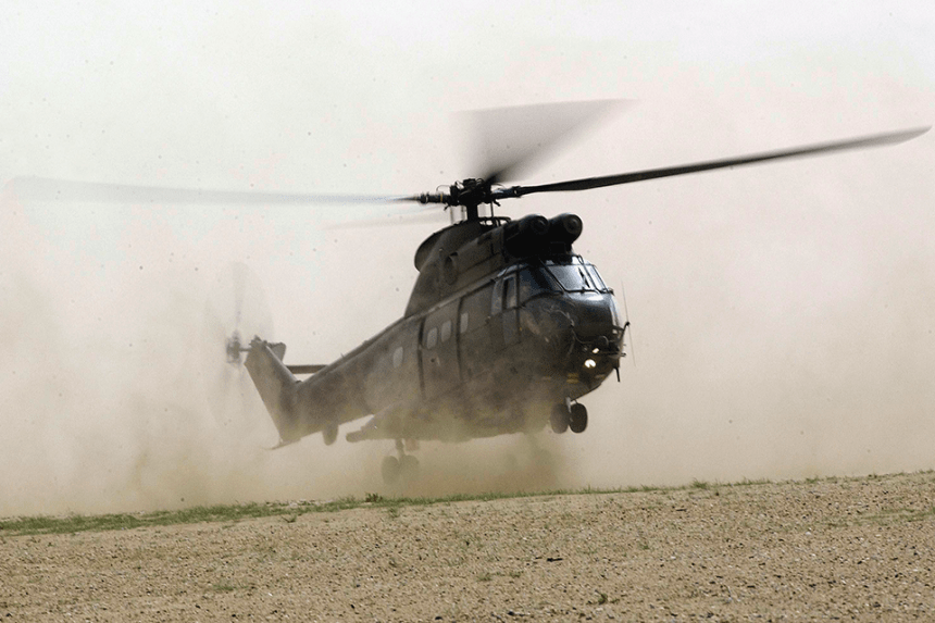 Puma helicopter providing support on operations in the Middle East.