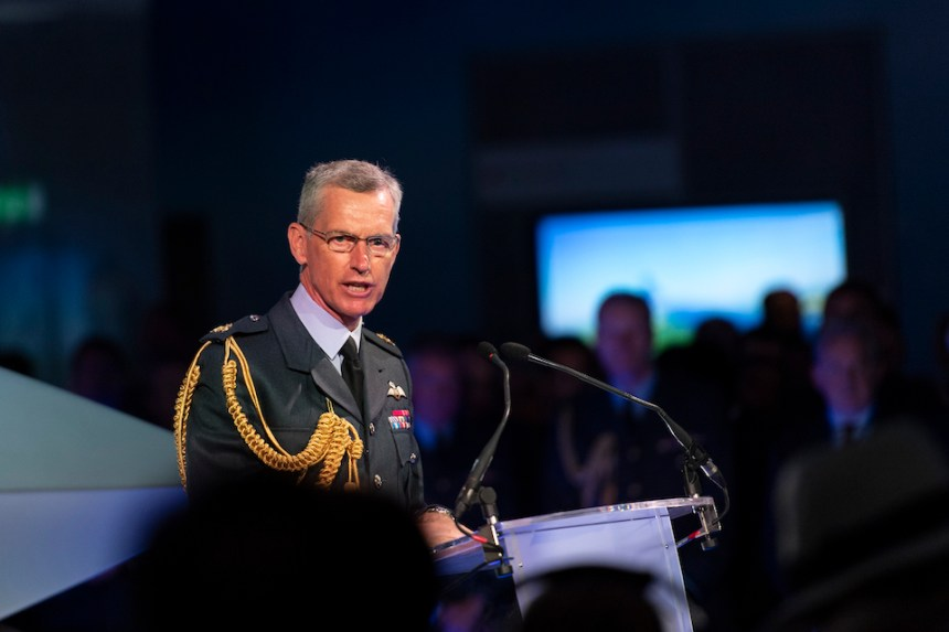 Chief of the Air Staff Air Chief Marshal Sir Stephen Hillier at the launch of the Combat Air Strategy at Farnborough International Air Show.