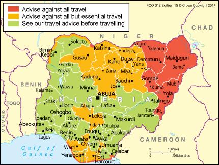 Travel advisories for Nigeria