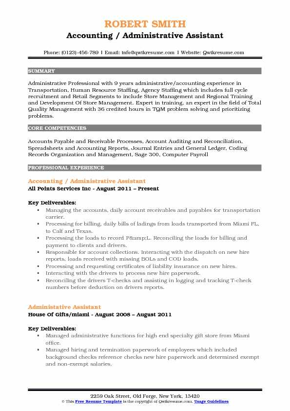 Accounting Administrative Assistant Resume Samples  QwikResume
