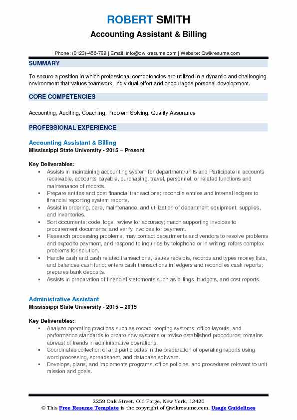 accounting assistant resume sample pdf