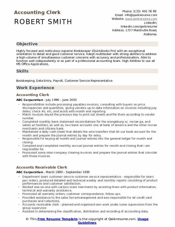 project accounting resume examples