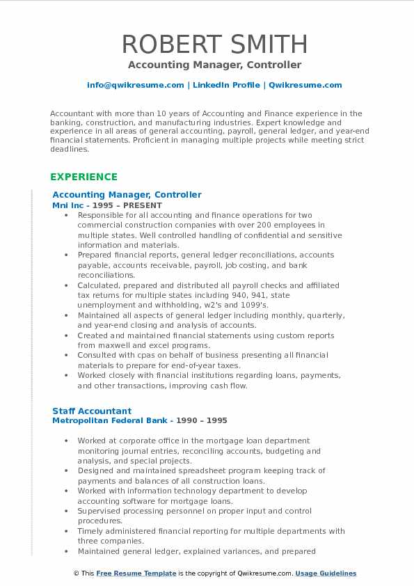 Accounting Manager Controller Resume Samples  QwikResume