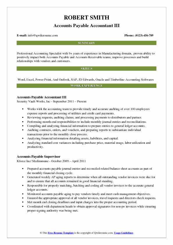 Accounts Payable Accountant Resume Samples  QwikResume