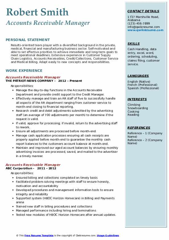 Accounts Receivable Resume Objective